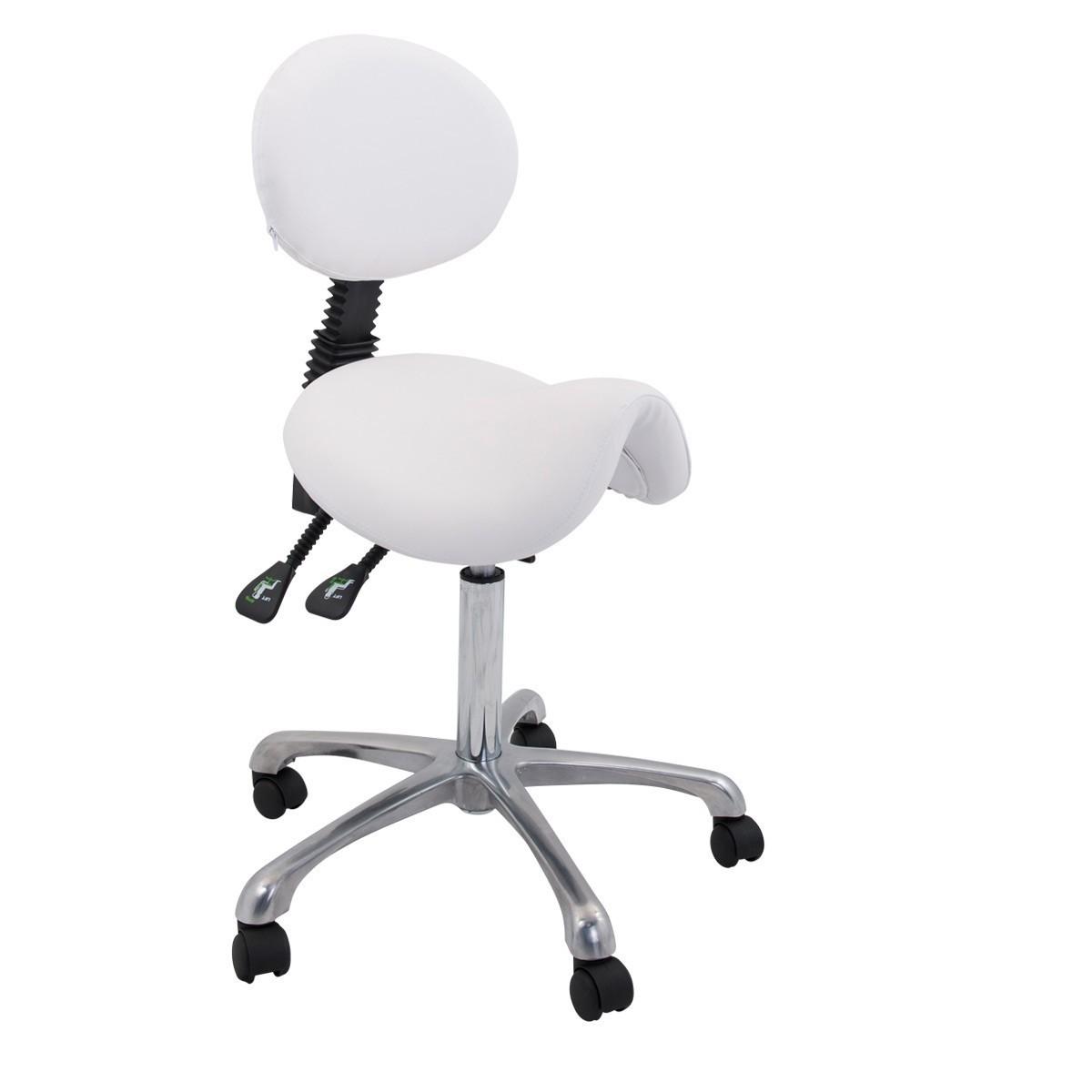 ergonomischer sattelhocker mit r ckenlehne wei. Black Bedroom Furniture Sets. Home Design Ideas